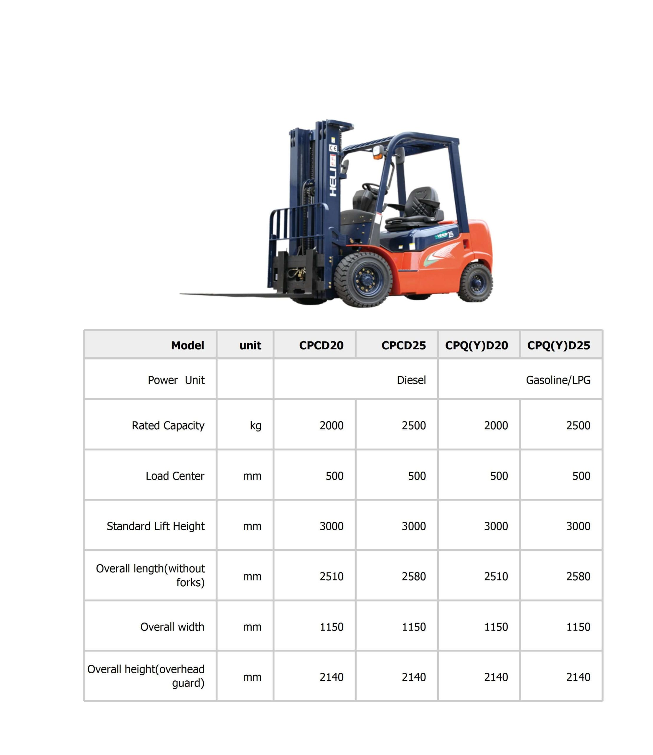 disel 2-2.5 ton-specification